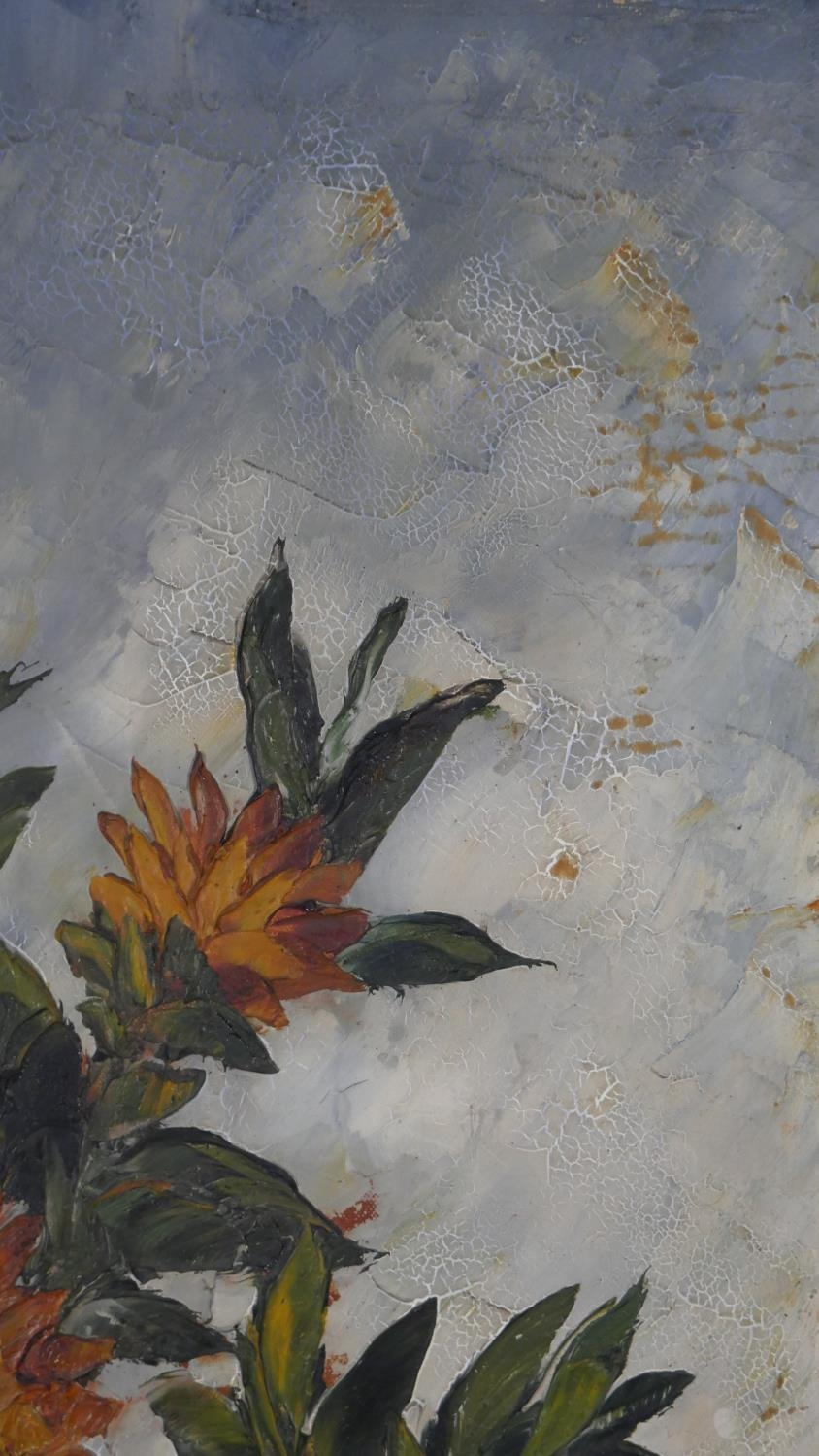 A framed oil on canvas, sunflowers in a vase, signed Van Dam. H.81 W.55.5cm - Image 5 of 7