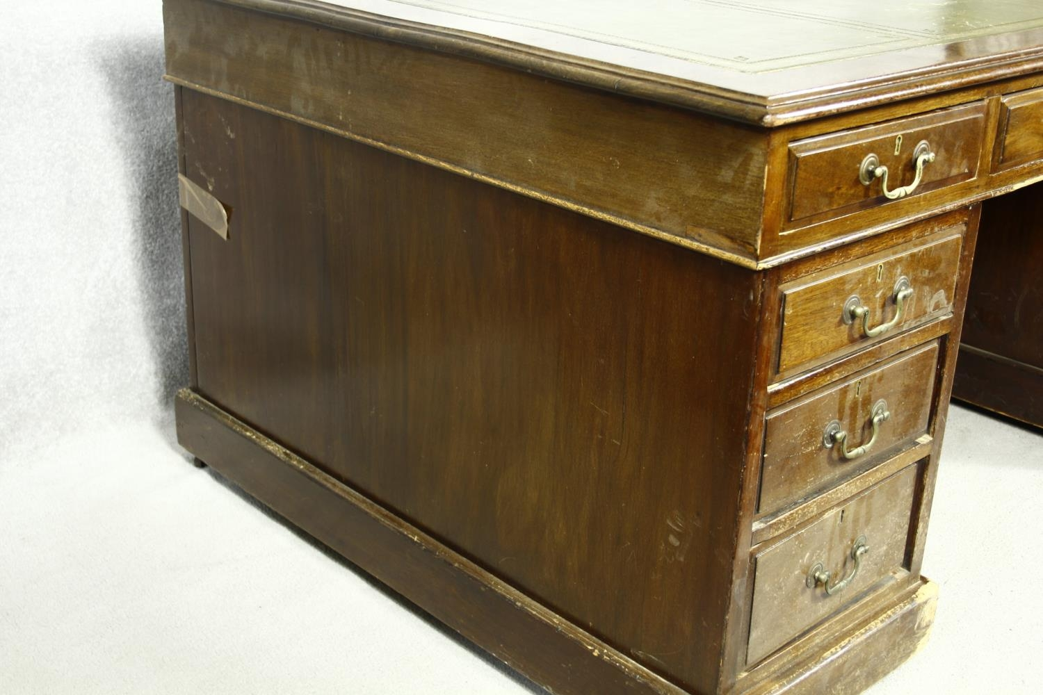 A C.1900 mahogany three section partner's pedestal desk with inset tooled leather top above an - Image 16 of 20