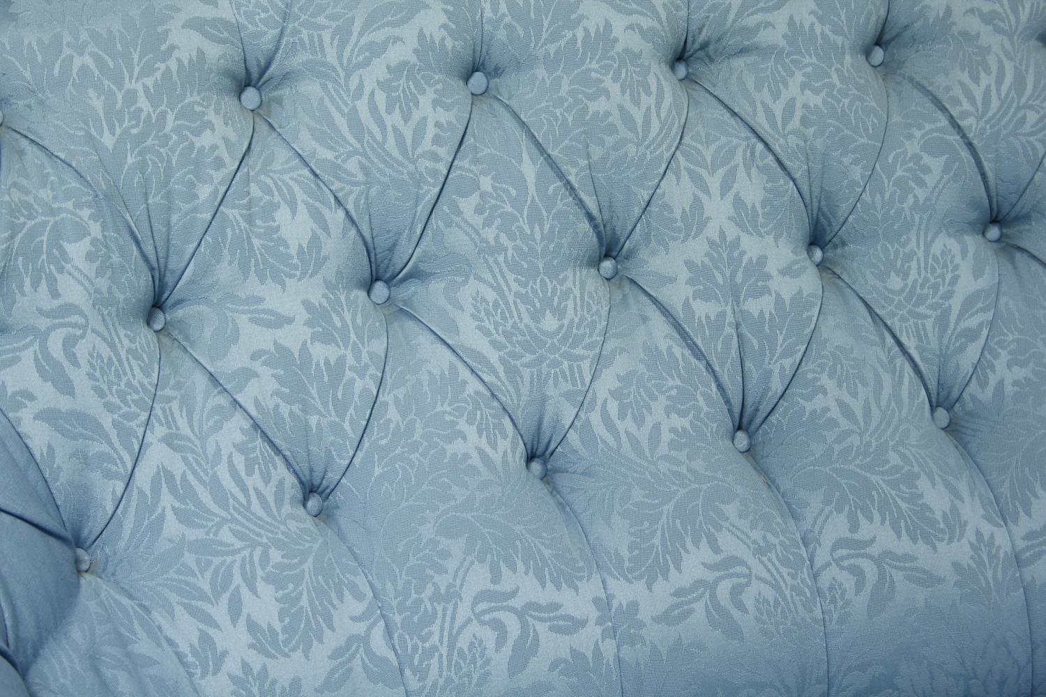 A vintage tub shaped two seater sofa in deep buttoned damask upholstery. H.94 W.150 D.90cm - Image 4 of 7