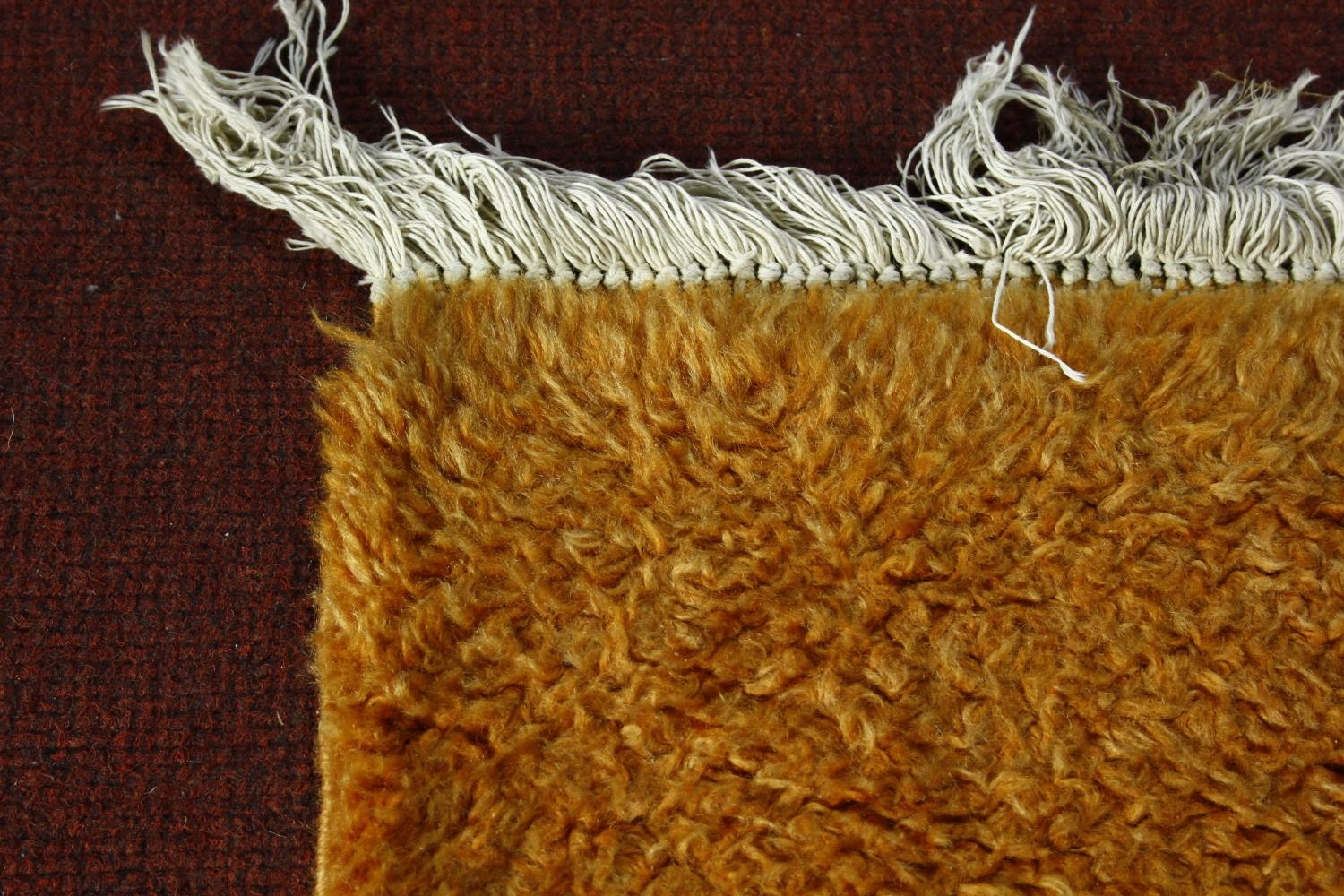 A large 1970's vintage woollen carpet in tangerine retailed by Heal's. L.380 W.280cm - Image 2 of 3