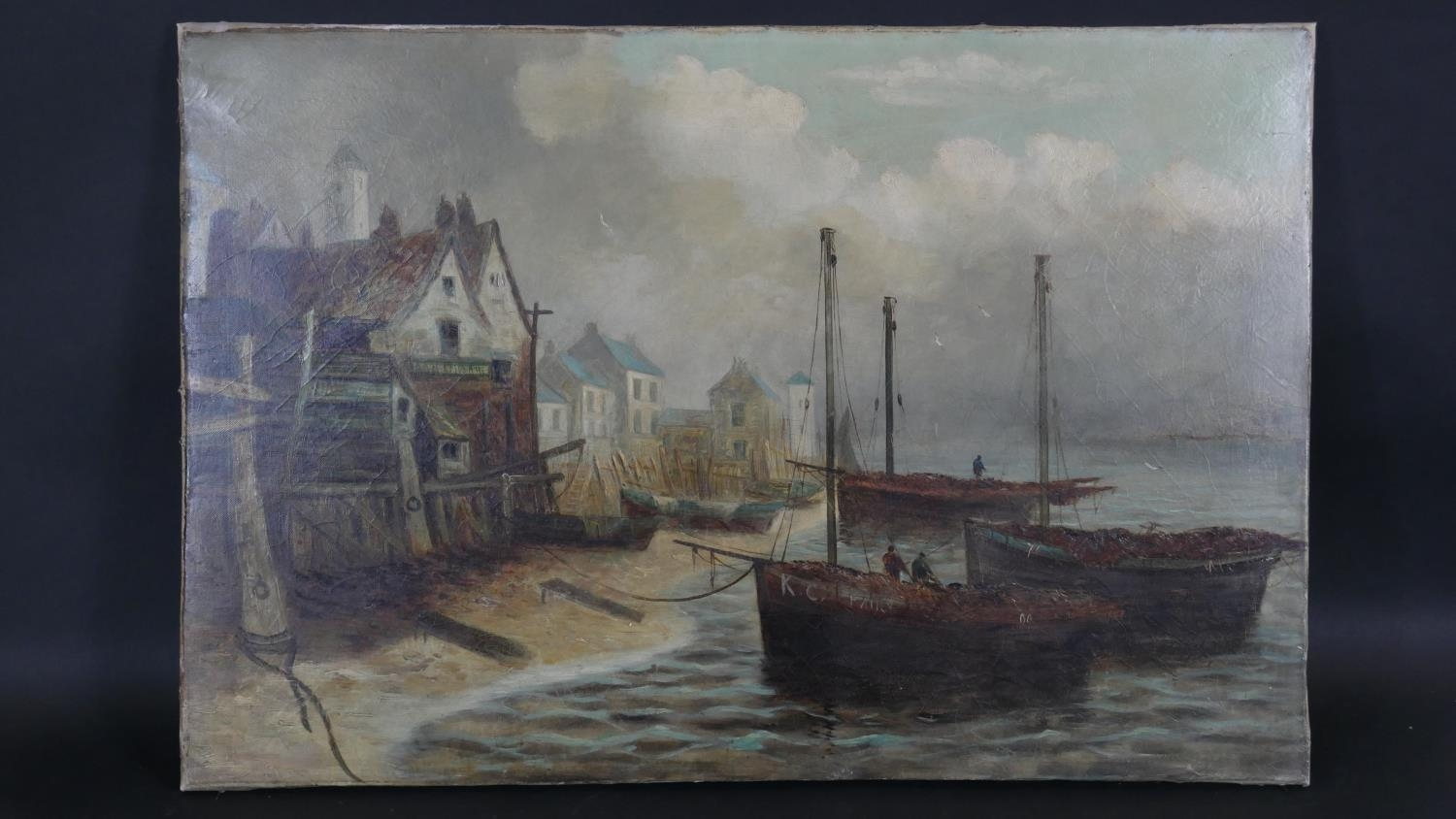 A C.1900 unframed oil on canvas, harbour setting with figures on fishing boats. H.61.5 W.92cm - Image 2 of 5