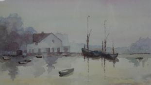 A framed and glazed watercolour, boats on a lake, unsigned. H.38 W.48.5cm