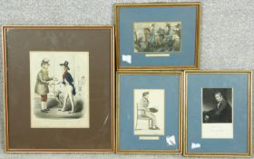 A collection of antique hand coloured engravings. Two prints of watercolours by George Lockhart, a