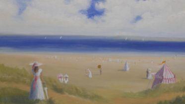 Miles Christopher Fairhurst (B.1955), oil on canvas, Victorian beach scene, signed. H.67.5 W.77.5cm