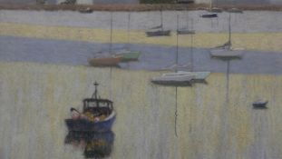William Innes (1905-1999), framed and glazed pastel. sailing boats moored in an estuary, signed. H.