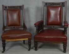 A late 19th century carved mahogany armchair in leather upholstery and the matching nursing chair.