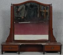 An Edwardian mahogany and satinwood strung dressing table mirror, converted from a dressing table