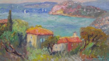 Isabelle de Ganay (B.1960), oil on canvas, Cote D'Azur bay scene with sailing ships, signed. H.54.