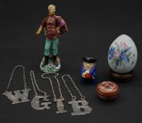 A collection of items. Including a Victorian blown glass easter egg, four silver plate engraved