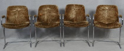 A set of four 1970's vintage Pieff dining chairs in original upholstery on angular tubular chrome