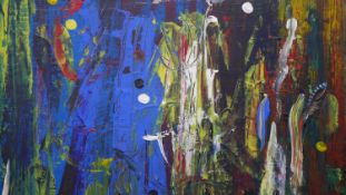 """A framed oil on board, abstract composition, """"A Midsummer Night's Dream"""", signed Terence Howe. H."""