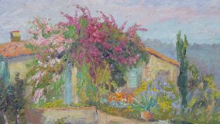 Isabelle de Ganay (B.1960), oil on canvas, rural buildings with profusely blooming gardens, South of