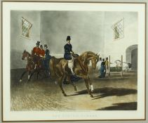 After F.C. Turner, a framed and glazed antique hand coloured engraving titled 'The Riding School',