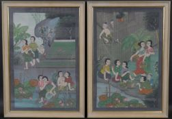 A pair of framed and glazed gouache studies, Eastern figures by a lake with lily pads. H.49 W.34.5cm