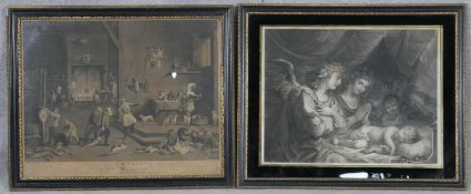 Two framed and glazed antique engravings of Teniers Kitchen and a classical scene of angels around