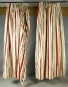 A pair of curtains in lined silk candy stripe material. H.215 W.88 W.140