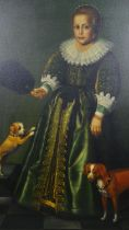 A large contemporary gilt framed oil on canvas, Medici family portrait of a young girl, unsigned.