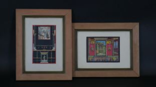 Two framed and glazed watercolours, Neoclassical interiors with figures, unsigned. H.41 W.31.5cm