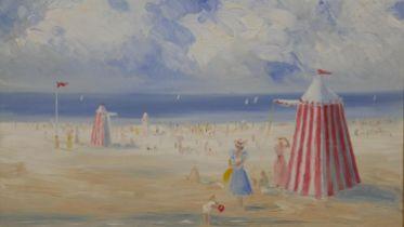 Miles Christopher Fairhurst (B.1955), oil on canvas, Victorian beach scene, monogrammed. H.57 W.67cm