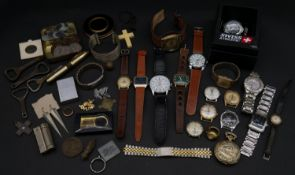 A miscellaneous collection of vintage and modern watches, jewellery, old coins etc.