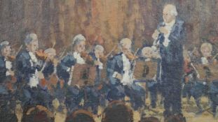Ronald Morgan (B.1936), oil on board, Mozart Clarinet Concerto, signed with gallery label to the
