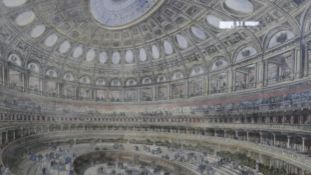 A large framed and glazed hand coloured engraving of the interior of the Albert Hall by M Jackson.