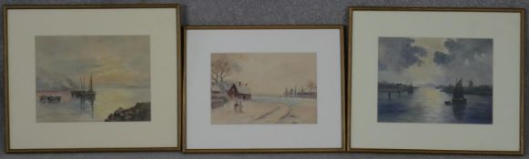 A collection of three 19th century watercolours, boats and a rural village scene, unsigned. H.35.5