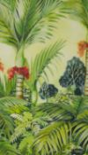 A framed and glazed batik with watercolour on silk, tropical landscape, signed Sage. H.59 W.53cm