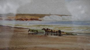 A glazed and framed watercolour, beach with chalk cliffs in the distance, signed Cooper. H.21 W.28cm
