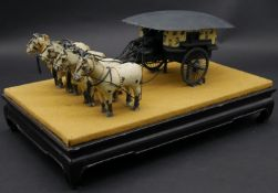 A bronze replica of the horse drawn chariot recovered near the imperial tomb of Ch'in Shih-huang-