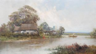 Benjamin Williams Leader (1831-1923) a gilt framed oil on canvas, figures by a cottage on a river,