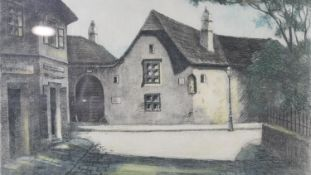 A C.1900 framed and glazed etching on silk, buildings through a gate, indistinctly signed. H.31.5