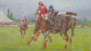 Andriy Yalansky (B.1959), framed oil on canvas, The Polo Match, signed with label to reverse. H.56.5