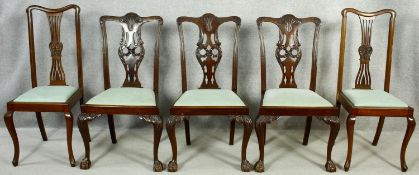 Three early 20th century Georgian style mahogany dining chairs and a pair of similar dining