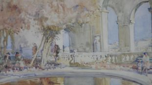 A framed and glazed watercolour, figures in a Mediterranean palace garden setting, signed Han