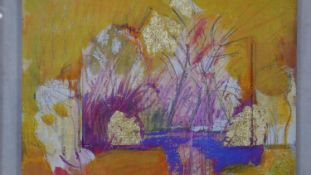 Antje Siebrecht, mixed media on board, composition in gold, signed with gallery label to the