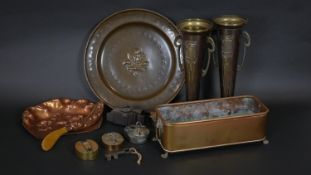 A collection of brass and copper items to include four vintage padlocks, an Art Nouveau crumb