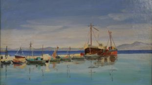 Elise Cazalet, oil on board, Sitia Harbour, Crete, signed with inscription to the reverse. H.49 W.