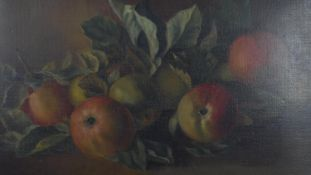 A gilt framed oil on board, still life fruit, unsigned. H.39 W.59cm