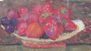 Robin Philipson (1916-1992), still life pastel study of strawberries in a bowl, signed to the