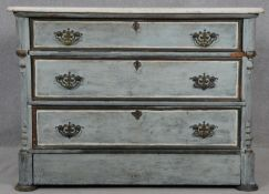 A 19th century Continental painted chest of drawers with marble top on plinth base. H.81 W.111.5 D.