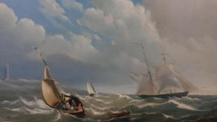 A 19th century gilt framed oil on panel, sailing ships on stormy seas with a lighthouse in the