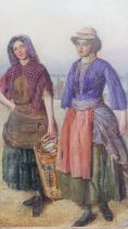 James Moulton Burfield (1845-1888), oil on panel, fisher girls, signed with label to the reverse, in