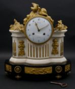 A late 18th century French Louis XVI black and white marble and gilt bronze clock, white enamel dial