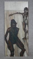 Oil on board, dancers in a studio, indistinctly signed. H.85.5 W.36.5cm