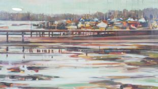 Katharine Le Hardy, a framed and glazed signed print titled Itchenor Jetty, edition 3/25, signed