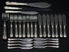 A silver fish serving set for seven people. Including eight small fish knives, a fish serving set,