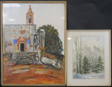 Two watercolours; Mediterranean church, signed A Marini and an Alpine scene, signed V Campanile. H.