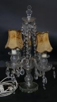 A vintage four branch cut glass table chandelier with original shades and crystal drops. H.59cm