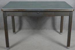 A mid century metal industrial style desk by Travaux & Metallurgie Bruxelles. H.78 W.120 D.77cm